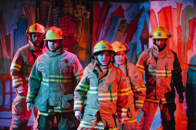 The Firefighting Chorus of The Arsonists at Maryland Ensemble Theatre