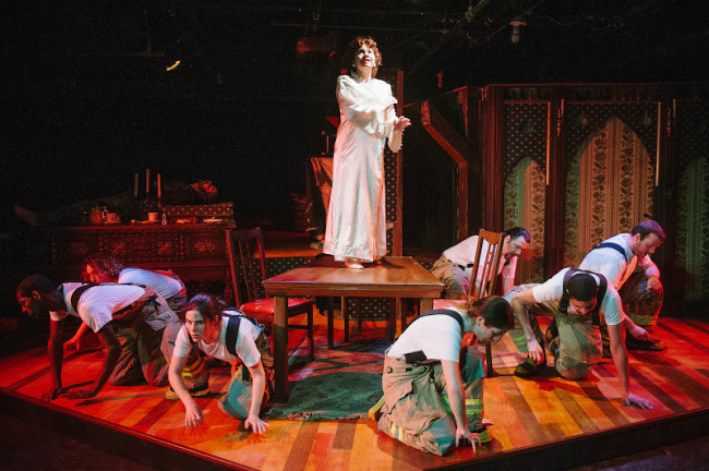 Lisa Burl (center) and the chorus of The Arsonists at Maryland Ensemble Theatre