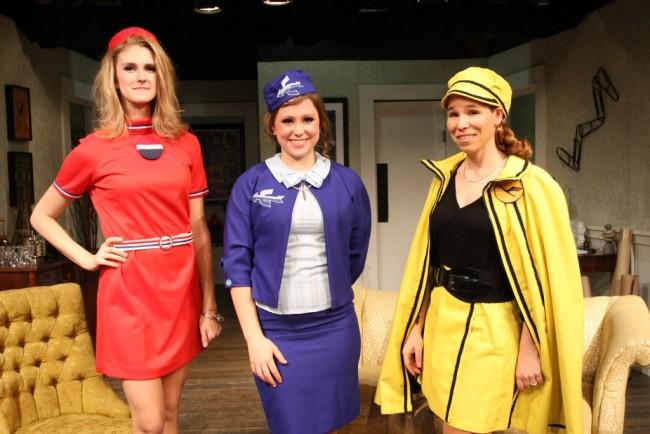 (L to R) TWA Janet (Cory Bolcik), Air France Jacqueline (Christina Fox) and Lufthansa Judith (Netta Morelli)