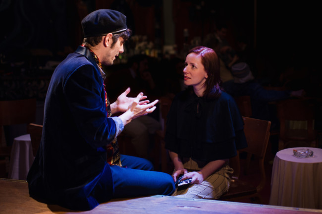 "Walter Paisley (L- John Marra) and Carla (R- Katharine Vary) discuss ""Art"""