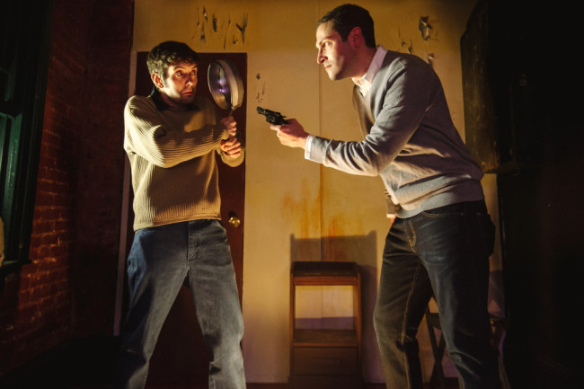 Walter (L- John Marra) is confronted by Lou (R- Mike Zaccardi) in his apartment