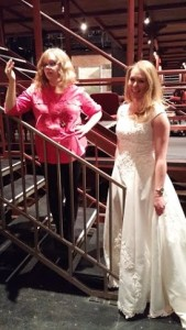 Costume Designer Stephanie Fisher (left) fitting actress Casey Dutt (right) for 13 Dead Husbands