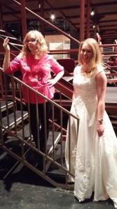 Costume Designer Stephanie Fisher (left) fitting actress Casey Dutt (right) for 13 Dead Husbands