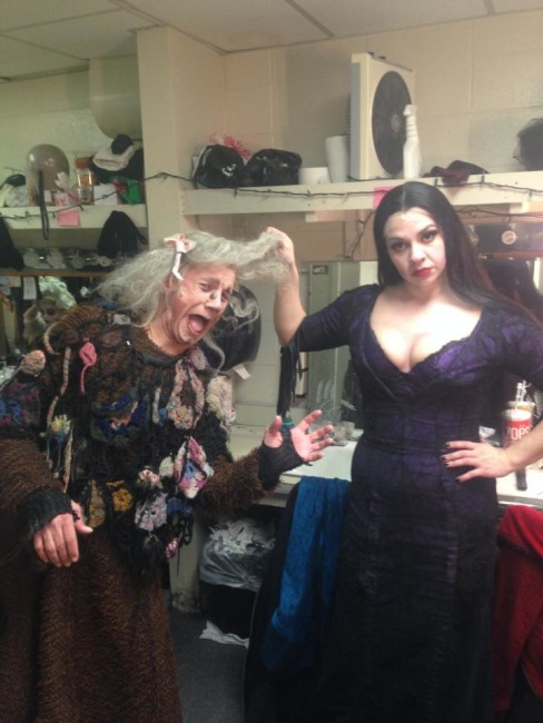 Grandma Addams (L- David James) gets in some serious trouble with Morticia (R- Priscilla Cuellar)