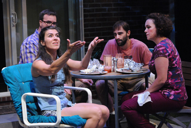 (L to R) Ben (Tim Getman), Sharon (Gabriela Fernandez-Coffey), Kenny (Danny Gavigan) and Mary (Emily K. Townley) get to know one another as neighbors