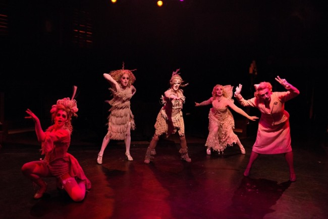 "The Female Ancestors dancing in ""Secrets"" (L to R) Rachel Kemp, Amanda Kaplan, Heather Marie Beck, Julia Lancione, and Coby Kay Callahan"
