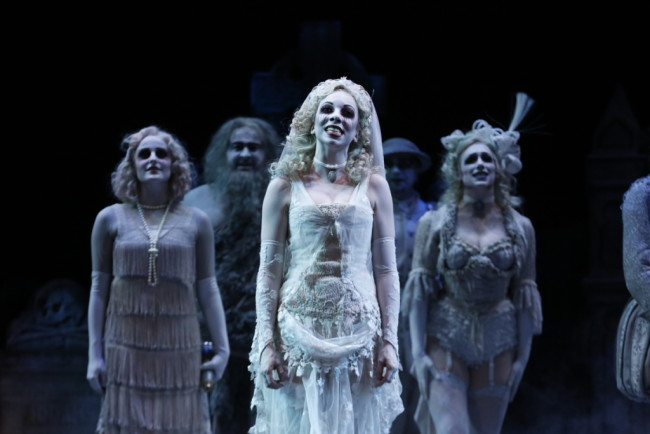 Julia Lancione (center) as The Bride Ancestor on the 2nd National Tour of The Addams Family musical