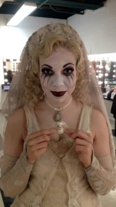 Julia Lancione as The Bride Ancestor backstage at The Addams Family