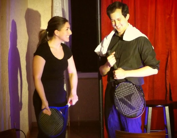 "Emily Levey (L) and John Dellaporta (R) in the sketch ""The Lasagna Incident"" in I Love You, You're Perfect, Now Change! at Epic Productions Inc."