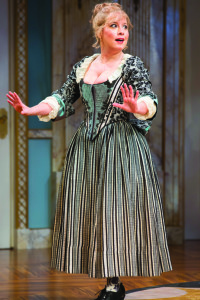 Dina Thomas as Lisette in the Shakespeare Theatre Company's production of David Ives's The Metromaniacs,