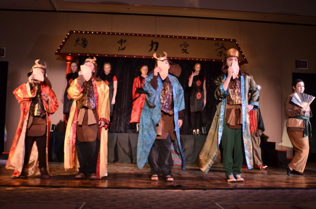 Ling (Steven Gross) Yao (Graham Rifkin) Qian-Po (Jules Einhorn) Captain Shang (Jake Zeranko) and Mulan (Eva Hellerbach) prepare to fool the Huns.