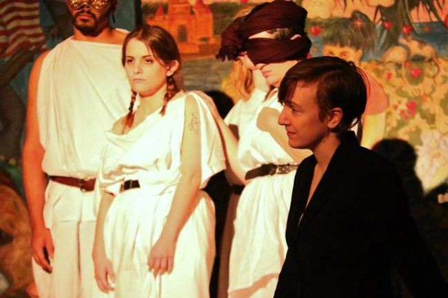 Socrates (R- Stephanie Joyal) and the ensemble of The Sympoisum at Sudden Satyrs