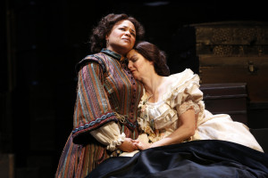 """Caroline Clay as Elizabeth Keckly and Mary Bacon as Mary Lincoln in the Ford's Theatre world premiere of James Still's """"The Widow Lincoln,"""" directed by Stephen Rayne."""