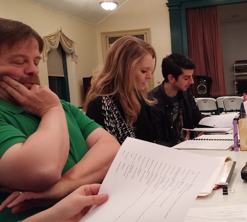 (L to R) Thom Sinn, Casey Dutt, and Matthew Payne sitting down for a table read.