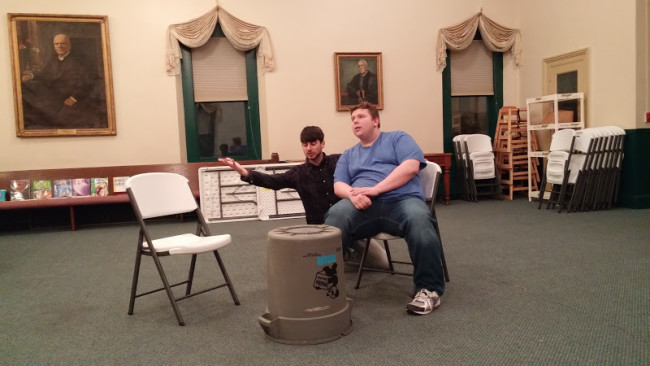 Matthew Payne (L) and Bobby Henneburg (R) rehearsing for 13 Dead Husbands