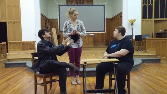 (L to R) Matthew Payne, Casey Dutt, and Bobby Henneburg in rehearsal for 13 Dead Husbands