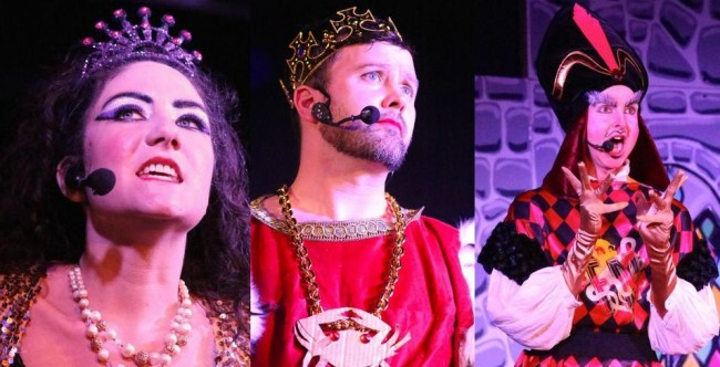 """Princess (L- Mary Shock) The King (C- Victor Perez) and """"Jafar"""" (R- Joe Meduza) in Fluid Movement's That's BaltAmoŕe"""