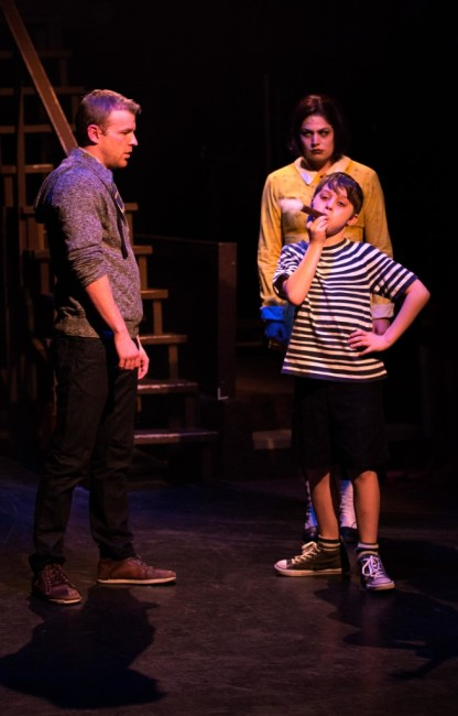 Lucas (L- AJ Whittenberger) Pugsley (alternating Jace Franco and Gavin Willard) and Wednesday (R- MaryKate Brouillet)