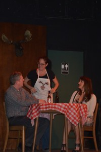 Jimmy (L- Mike Ware) Waitress (C- Kendra Sweren Keiser) and Sandrine (R- Jennifer Skarzinski)