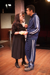 Maureen Folan (L- Kat McKerrow) and Ray Dooley (R- Mason Catharini) in The Beauty Queen of Leenane at Spotlighters Theatre