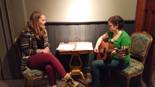 Casey Dutt (Left) in rehearsal with musician Alicia Stanley (Right) for 13 Dead Husbands at Cohesion Theatre Company