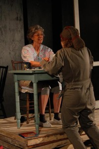 Nancy Blum as Besse (left) and Cathryn Benson as Esme (right) in God Don' Like Ugly at Venus Theatre