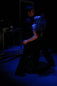 Gray West (left) and Cathryn Benson (right) in a nightmarish dream tango Choreographed by Maria Lin Yaffe in God Don' Like Ugly at Venus Theatre