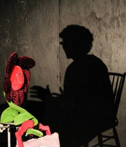 The shadow of Bessie (Nancy Blum) on the back porch in God Don' Like Ugly at Venus Theatre