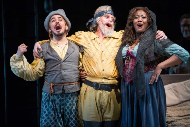 Nehal Joshi as Sancho. Anthony Warlow as Don Quixote, and Amber Iman as Aldonza in the Shakespeare Theatre Company's production of Man of La Mancha, directed by Alan Paul
