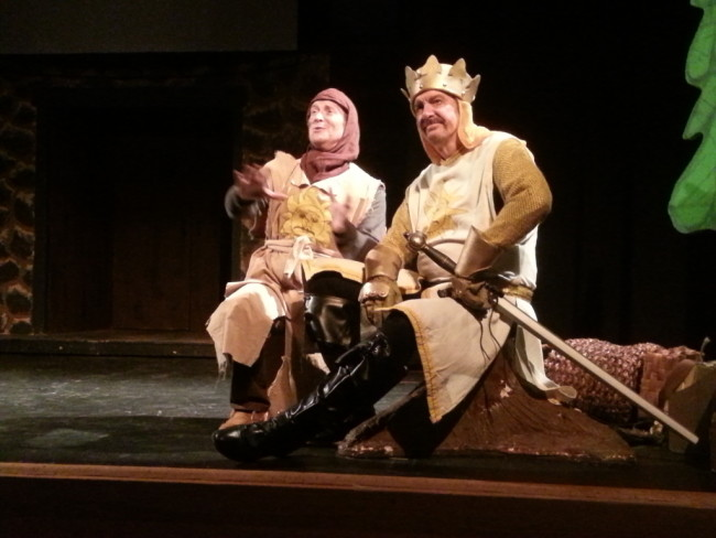 Patsy (L- Jeremy Goldman) and King Arthur (R- Mo Dutterer)
