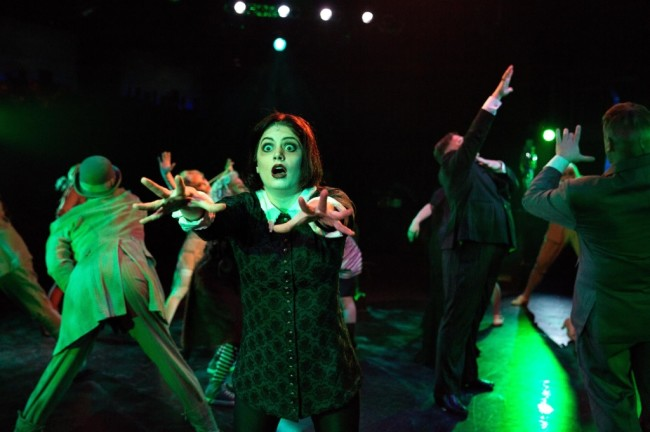 "Wednesday Addams (MaryKate Brouillet) dances the Death Rattle during ""When You're an Addams"""