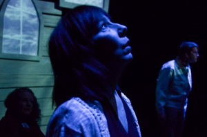 Julie Herber (center) as Marta in The Revelation of Bobby Pritchard at Iron Crow Theatre
