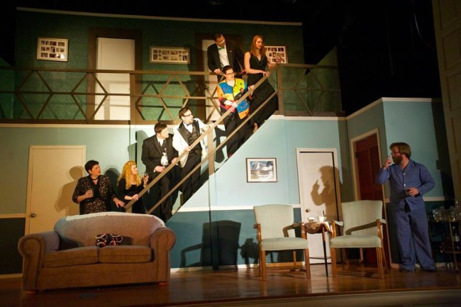 Ascending the steps: Claire (Andrea Bush), Chris (Ashley Gerhardt), Ken (Matt Scheer), Ernie (Lenny Taube) Cookie (Kathy Wenerick-Bell), Glen (Louis Miles) and Cassie (Amanda Polanowski.) Not on the Steps: Lenny (Stephen M. Deininger)