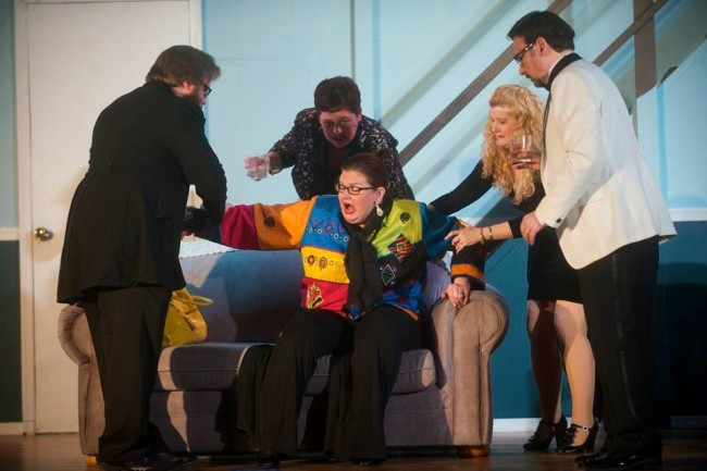 (L to R) Lenny (Stephen M. Deininger) Claire (Andrea Bush) Cookie (center- Kathy Wenerick-Bell), Chris (Ashley Gerhardt) and Ernie (Lenny Taube)