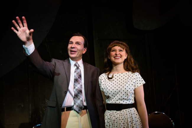 Joe Gillis (L- Joshua Redford) and Betty Schaefer (R- Katie Depp) in Sunset Boulevard