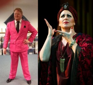 Left: Quentin Nash Sagers as Manfred. Right: Katie McManus as Norma Desmond in costumes designed by Mark Hidalgo and Jennifer Lambert