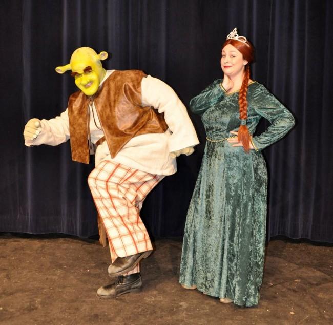 Dean Davis as Shrek (left) and Malarie Novotny as Princess Fiona (right)