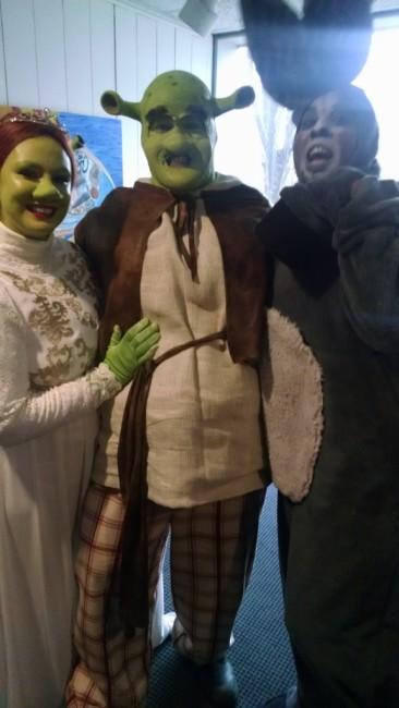 Princess Fiona (L- Malarie Novotny) Shrek (C- Dean Davis) and Donkey (R- J. Hargrove)