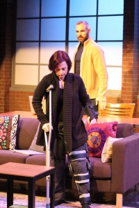 Aly B. Ettman as Sarah (front) with Aaron Tone as Jamie (back) in Time Stands Still at Peter's Alley Theatre Productions