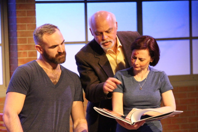 Jamie (L- Aaron Tone) Richard (C- Jim Epstein) and Sarah (R- Aly B. Ettman) in Time Stands Still at Peter's Alley Theatre Productions
