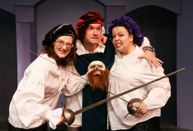 Anne Shoemaker (left) Bart Debicki (center) and Holly Gibbs (right) in The Complete Works of William Shakespeare at Fells Point Corner Theatre