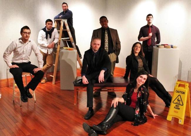 The cast of Eat the Runt at HCC Arts Collective (L to R) Scott Lichtor, Diego Esmolo, Anthony Scimonelli, Noah Bird, Brandon W. Love, Gabrielle Amaro, Terri Laurino, and Daniel Johnston