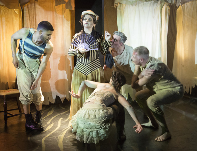 Gene Fouche as Mrs. Kendal (center) and the ensemble of The Elephant Man