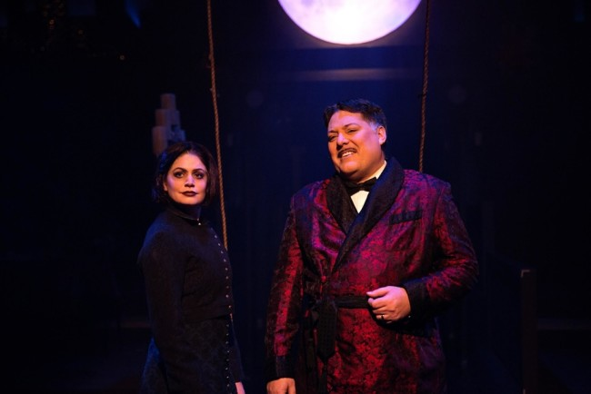 MaryKate Brouillet as Wednesday Addams (left) and Lawrence B. Munsey as Gomez Addams (right)