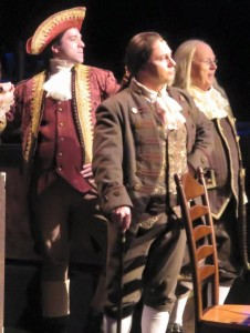 (L to R) Richard Henry Lee (Jeremy Scott Blaustein) John Adams (Jeffrey Shankle) and Ben Franklin (John Stevenson)