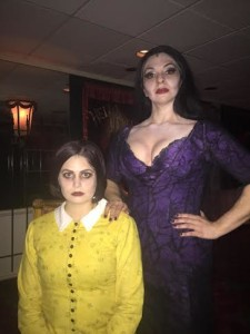 Wednesday Addams (Left, MaryKate Brouillet) and her mother Morticia (Right, Priscilla Cuellar)