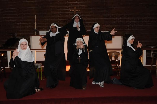 The Little Sisters of Riverdale get ready for their show (Nunsense performed by Wolf Pack Theatre Company)