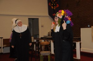 Reverend Mother (L- Jamie Crown) is wondering what exactly Sister Robert Anne (R- Francine Joyce Kent) is up to