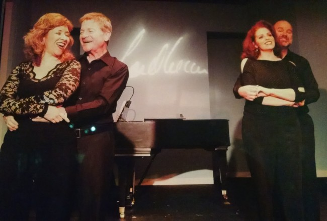 (L to R) Jennifer Viets, Gary Hiel, Alyson Shirk, and Steve Antonsen in Side by Side by Sondheim