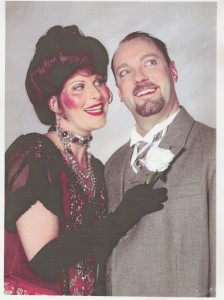 Shannon Wollman (left) as Dolly Levi with Ed Peters (right) in Hello, Dolly at Dundalk Community Theatre